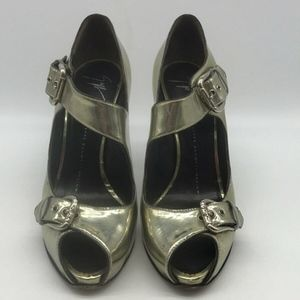 Giuseppe Zanotti Gold Peep Toe Mary Jane Pumps 8.5